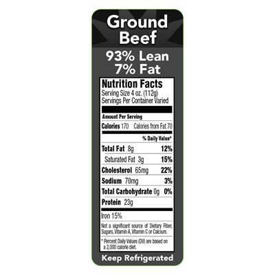93 / 7 GROUND BEEF NUTRITION PANEL